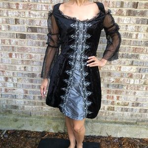 Halloween witch cold shoulder dress Black lace